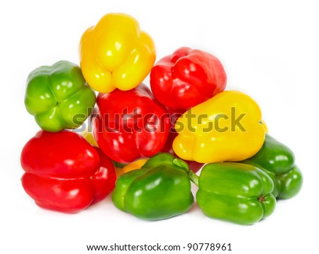 bell pepper mix on white background. red, green, yellow.