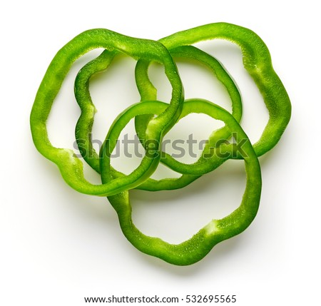 Bell pepper slices isolated on white background, top view ストックフォト ©