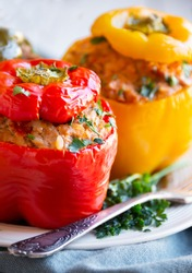 Bell peppers stuffed  with  meat and some parsley, healthy vegetable dish