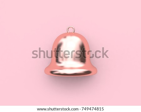 bell pink metallic reflection rose gold-christmas bell minimal pink background 3d rendering christmas holiday new year concept