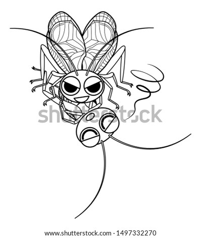 bell-ringing cricket cannibalism  character illustration clip art