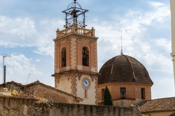 Bell tower and dome of the church of Castelló de Rugat, Valencia (Spain).