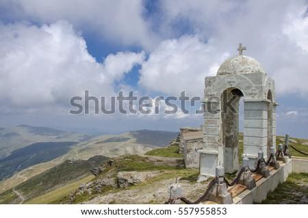 Bell Tower at Kajmakcalan Peak (2521 m), Nidze Mountain, Macedonia