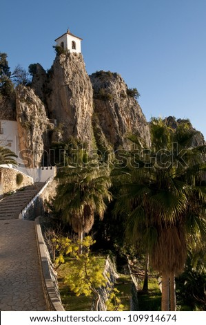 Bell tower, castle, Guadalest village, Alicante, Costa Blanca, Spain
