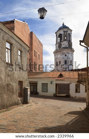 Bell-tower in historical centre of Vyborg, Russia