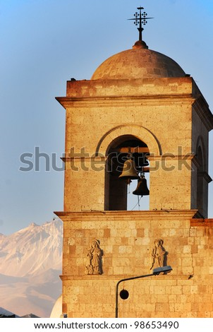 Bell tower of a church Arequipa, Peru
