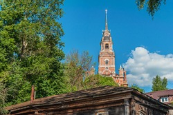 bell tower of an orthodox church built at the beginning of the 19th century in neo gothic style Nikolsky Monastery, Mozhaisk, Russia