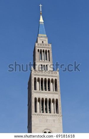 Bell Tower of Basilica of the National Shrine of the Immaculate Conception in Washington DC on a clear winter day