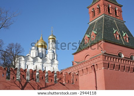 Bell tower of Ivan the Great and Kremlin wall