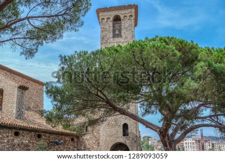 Bell tower of Notre-Dame Esperance church. Famous landmark in Cannes, French riviera, France