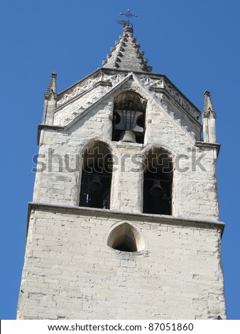 Bell tower of old church   in Avignon, France.