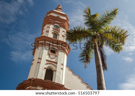 Shutterstock Bell-tower of the church in the historic centre of Veracruz city, Mexico