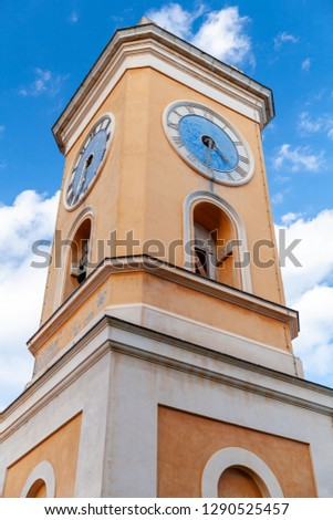 Bell tower of the Church of Our Lady of the Assumption of Eze, finished in 1772, located in in the Alpes-Maritimes, France