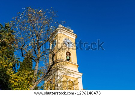 Bell tower of the Church of Our Lady of the Assumption of Eze, France.