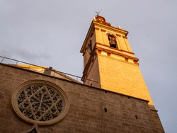 Bell tower of the Church of St. Nicholas  (Esglesia Sant Nicolau) in Valencia, Spain.