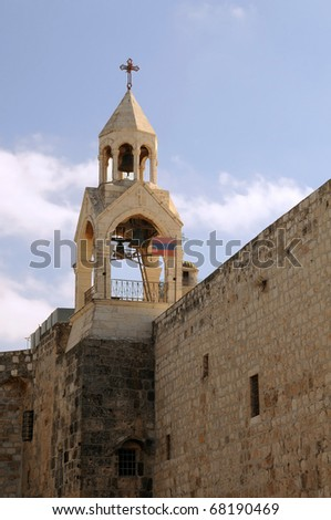 Bell tower of the Church of the Nativity in Bethlehem, Palestine.