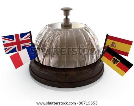 bell with flag on white background