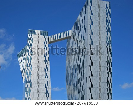 BELLA SKY, COPENHAGEN - JULY 16, 2014: The Bella Sky Comwell Hotel is a 4-star conference hotel adjacent to the Bella Convention and Congress Center in Copenhagen, July 16, 2014.