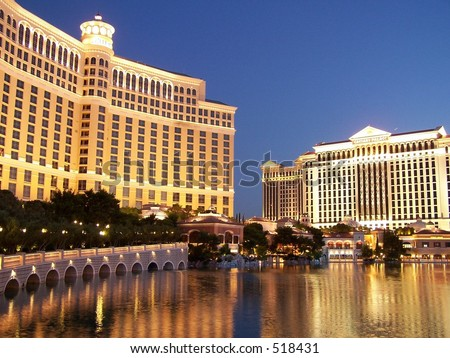 Bellagio and Caesar's Palace in reflecting pool, Las Vegas