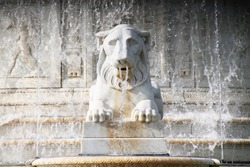 Belle Isle, Detroit's historic fountain featuring marble and stone lions spewing water out.