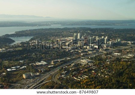 Bellevue and I-405 with Lake Washington and the Olympic Moutains in the background
