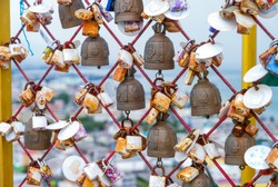 Bells and padlocks at Tangkuan Hill Temple, Songkhla, Thailand