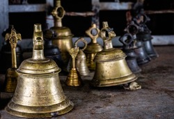 bells inside in a temple
