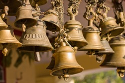 Bells of the old temple in Rudraprayag, India.