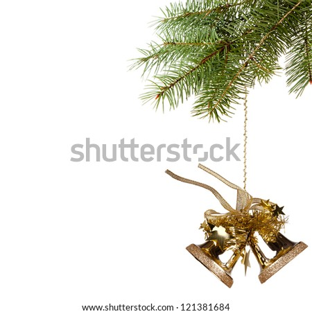 Bells with Christmas tree isolated on white background - stock photo
