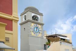 Belltower at Capri old town - popular touristic destinaion. Amalfi coast, Italy.