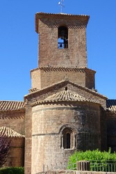 belltower of the monastery from Santa Maria de l'Estany, Moianes, Catalonia, Spain. beautiful rural church