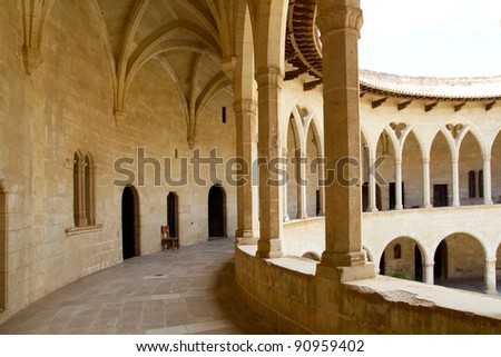 Bellver Castle Castillo cloister corridor in Majorca at Palma de Mallorca Balearic Islands