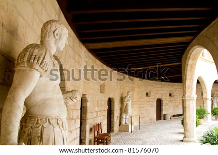 Bellver Castle Castillo statues in Majorca at Palma de Mallorca Balearic Islands - stock photo