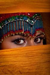 Bellydancer peeking from behind her veil