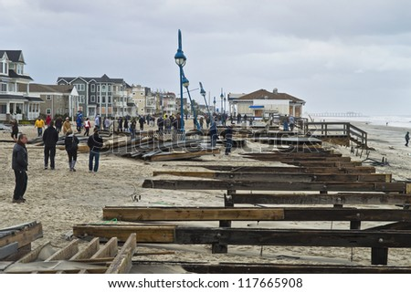 BELMAR, NEW JERSEY/USA -Â?Â? OCTOBER 30: The damaged boardwalk along the beach the day after Hurricane Sandy on October 30, 2012 in Belmar New Jersey.