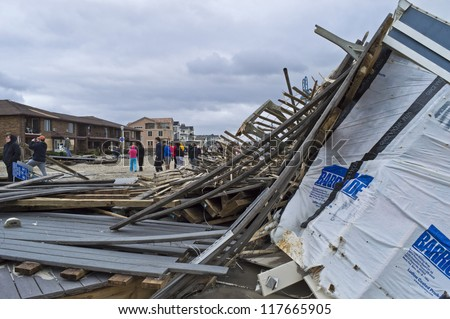 BELMAR, NEW JERSEY/USA-OCTOBER 30: The Devastation along the beach the day after Hurricane Sandy on October 30, 2012 in Belmar New Jersey.