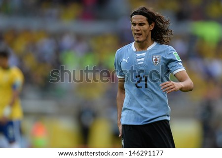BELO HORIZONTE JUNE 26 Edinson CAVANI during game between Brazil vs Uruguay during Confederation Cup in the stadium of the Mineirao on june 26 2013 in Belo Horizonte Brazil