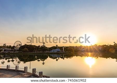 Belo Horizonte, Minas Gerais, Brazil. View of Pampulha Lake in sunset #745061902