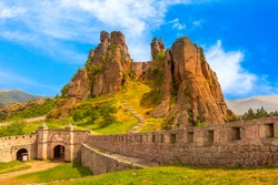 Belogradchik cliff rocks and wall at ancient Kaleto, landmark of Bulgaria