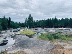 Belomorsk petroglyphs - rock carvings, monuments monumental fine art primitive era, located in the White Sea region of Karelia, the islands of the river Vig, date back to IV-III millennium BC