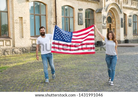Belonging to american nation. Happy citizens celebrating Independence day. American citizens holding national flag. Enjoying civil liberties as basic rights of citizens. Citizens and citizenship.