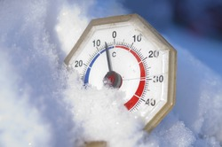 below zero on the old analogue thermometer, close up shot, concept of a cold weather