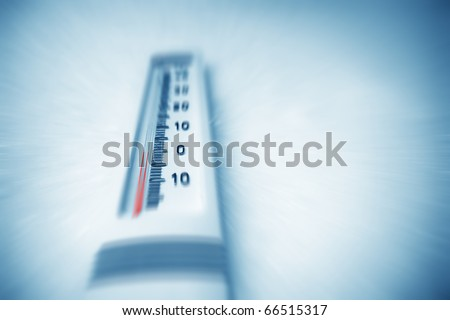 Below zero. Thermometer indicating minus temperature in cold winter.