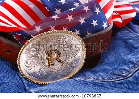 belt and buckle on denim