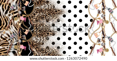 belt and chain leopard pattern polka dot