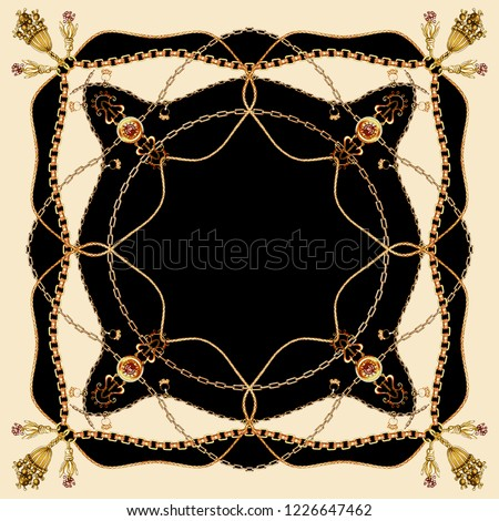 belt,tassel and chain patterned scarf on black and beige  backgraund