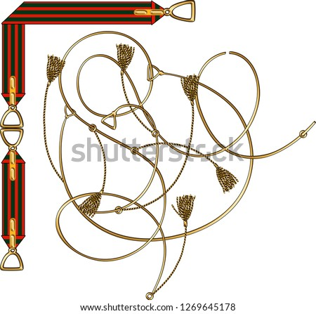 belt,tassel and rope patterned scarf on white background