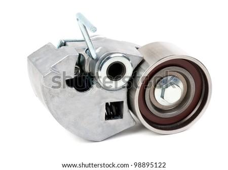 Belt tensioner for V-ribbed belt on a white background