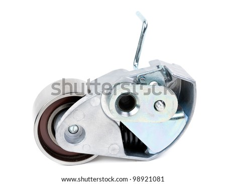 Belt tensioner for V-ribbed belt on a white background