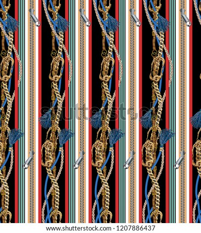 Belt, tufted rope, chain and zipper line background pattern.